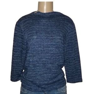 BASIC EDITIONS Blue Knitted Sweater Large